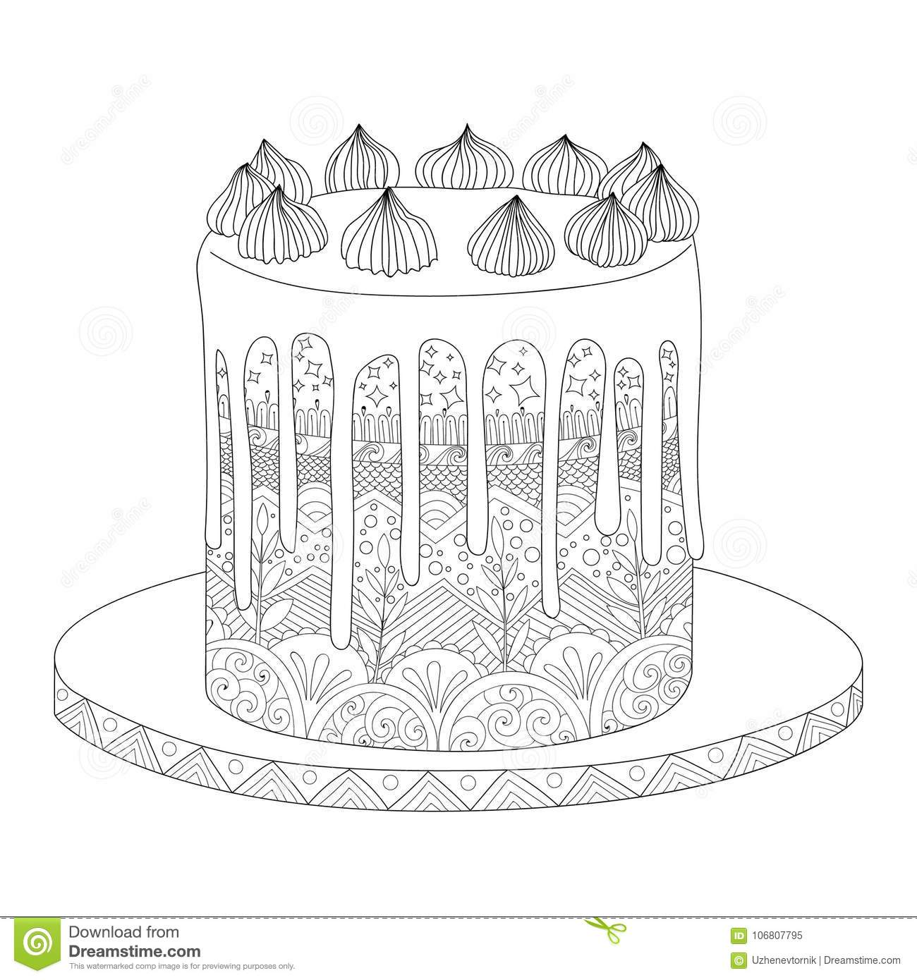 Cake For Coloring Book Stock Vector Illustration Of Floral 106807795