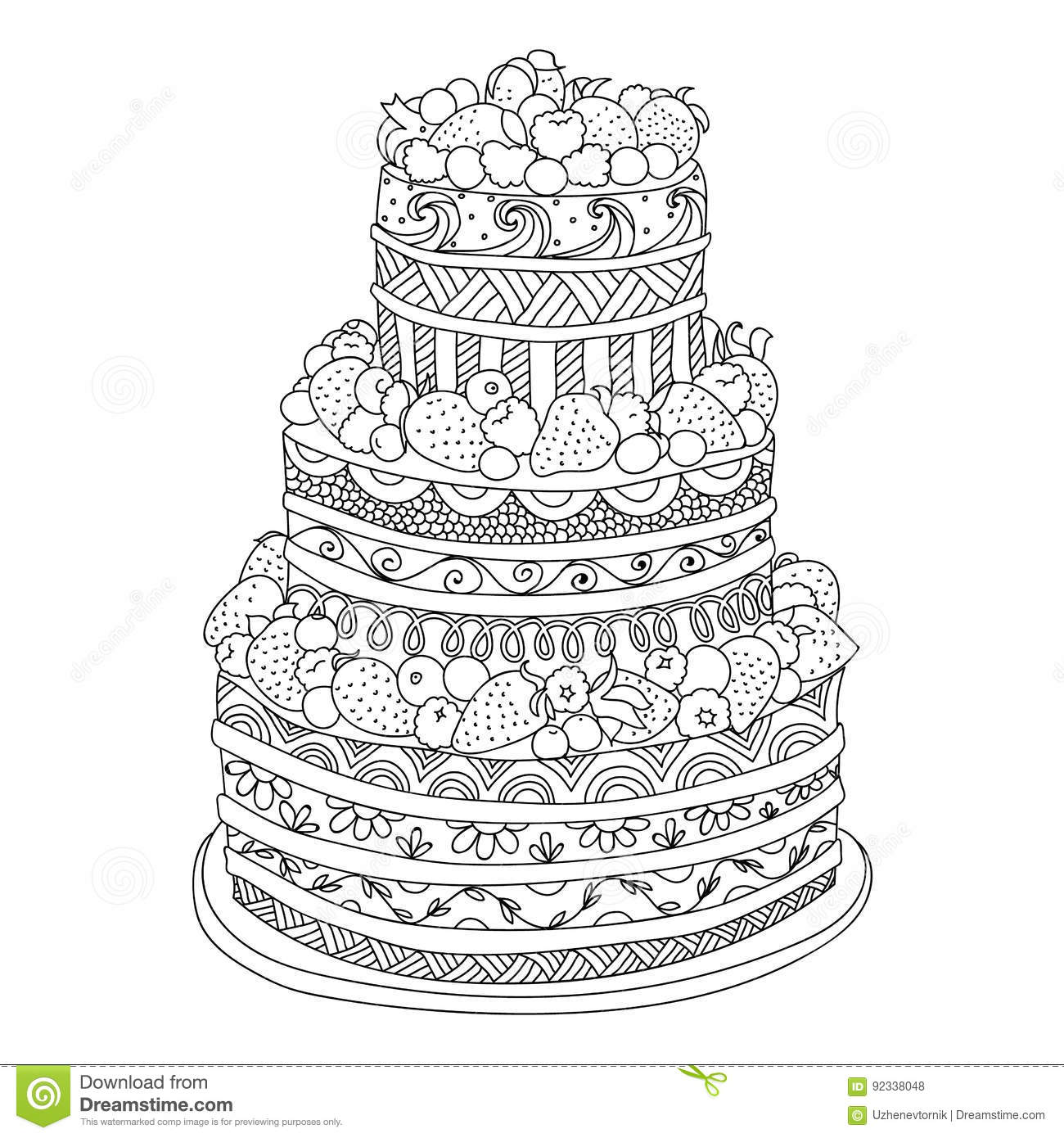 Cake for coloring book stock vector. Illustration of decorative ...