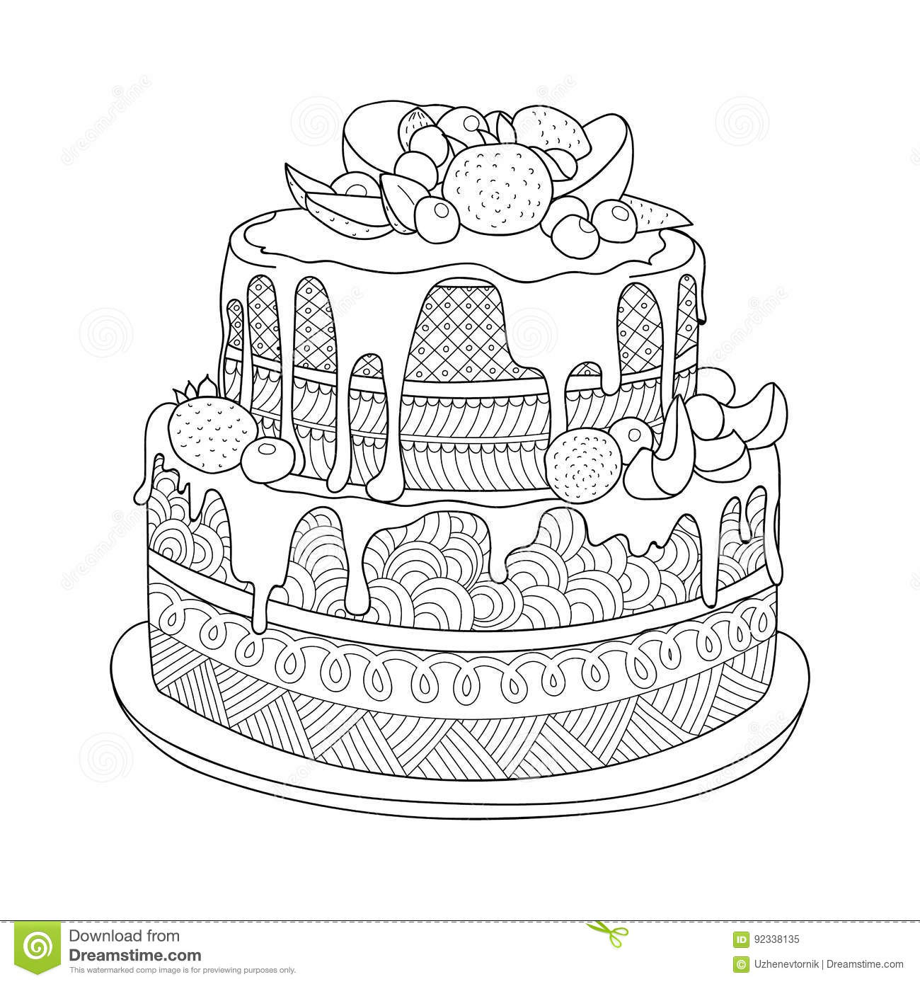 Cake for coloring book stock illustration. Illustration of ...