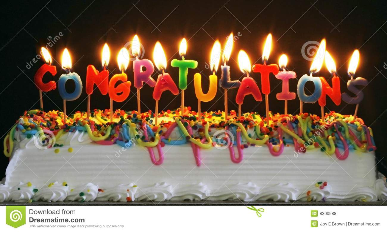 Cake With Congratulations Candles Royalty Free Stock
