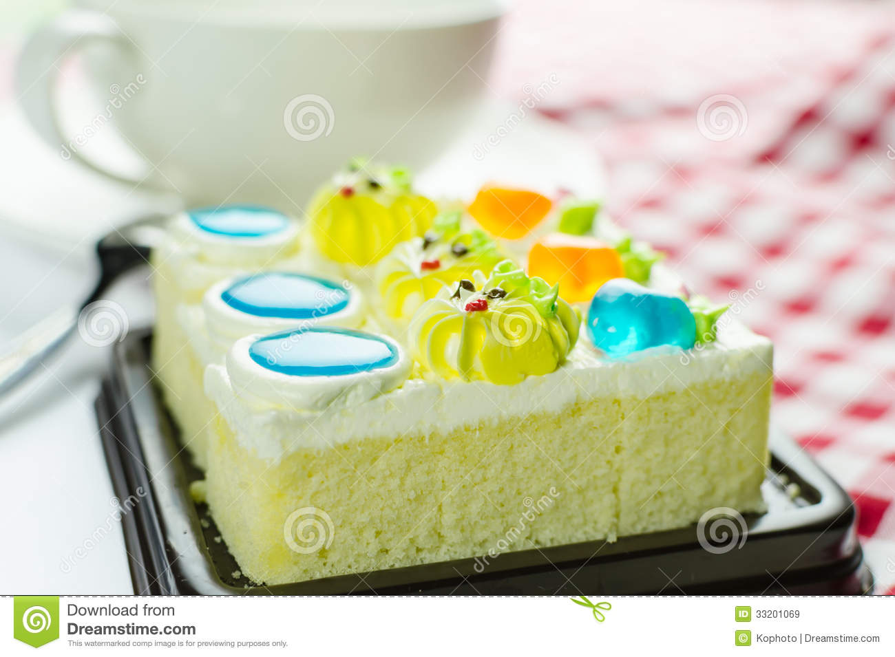Cake With Cream And Jelly Topping