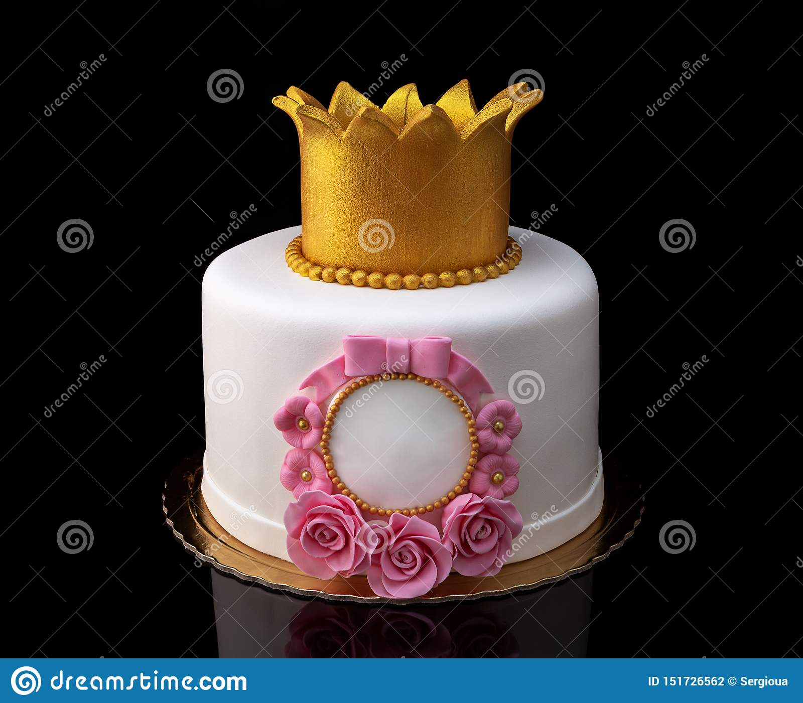 Fine Cake With A Crown For The Girl S Birthday Stock Photo Image Of Funny Birthday Cards Online Kookostrdamsfinfo