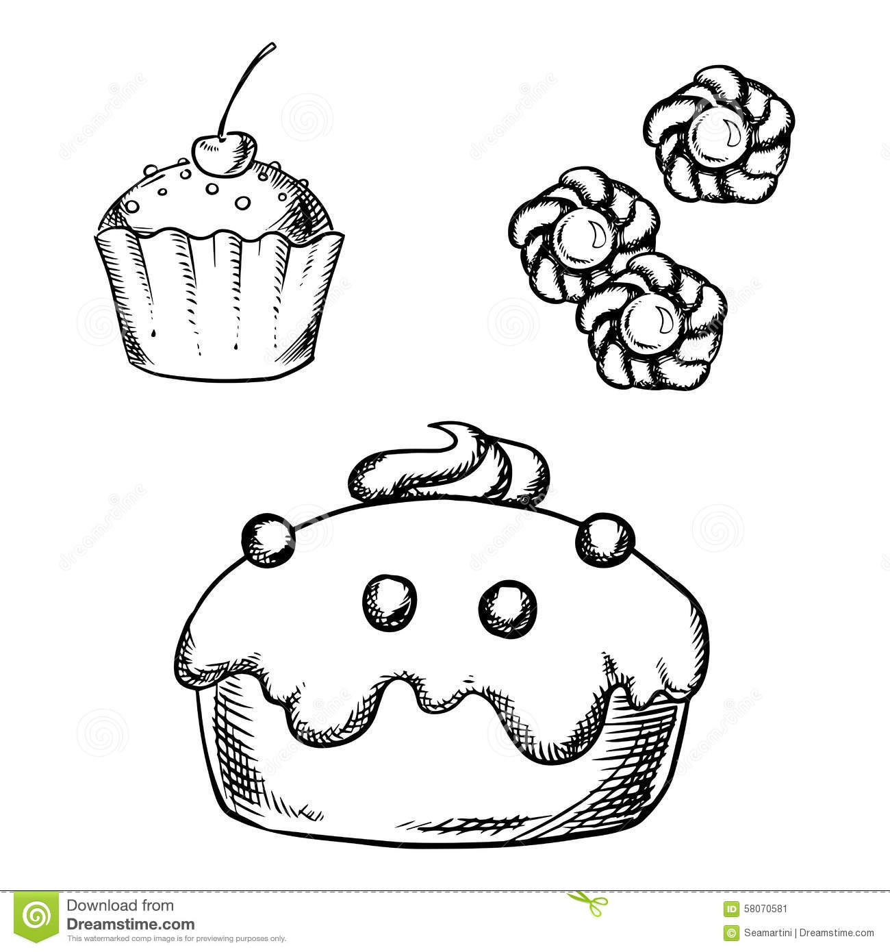 Cake, Cupcake And Cookies Sketches Stock Vector - Image ...