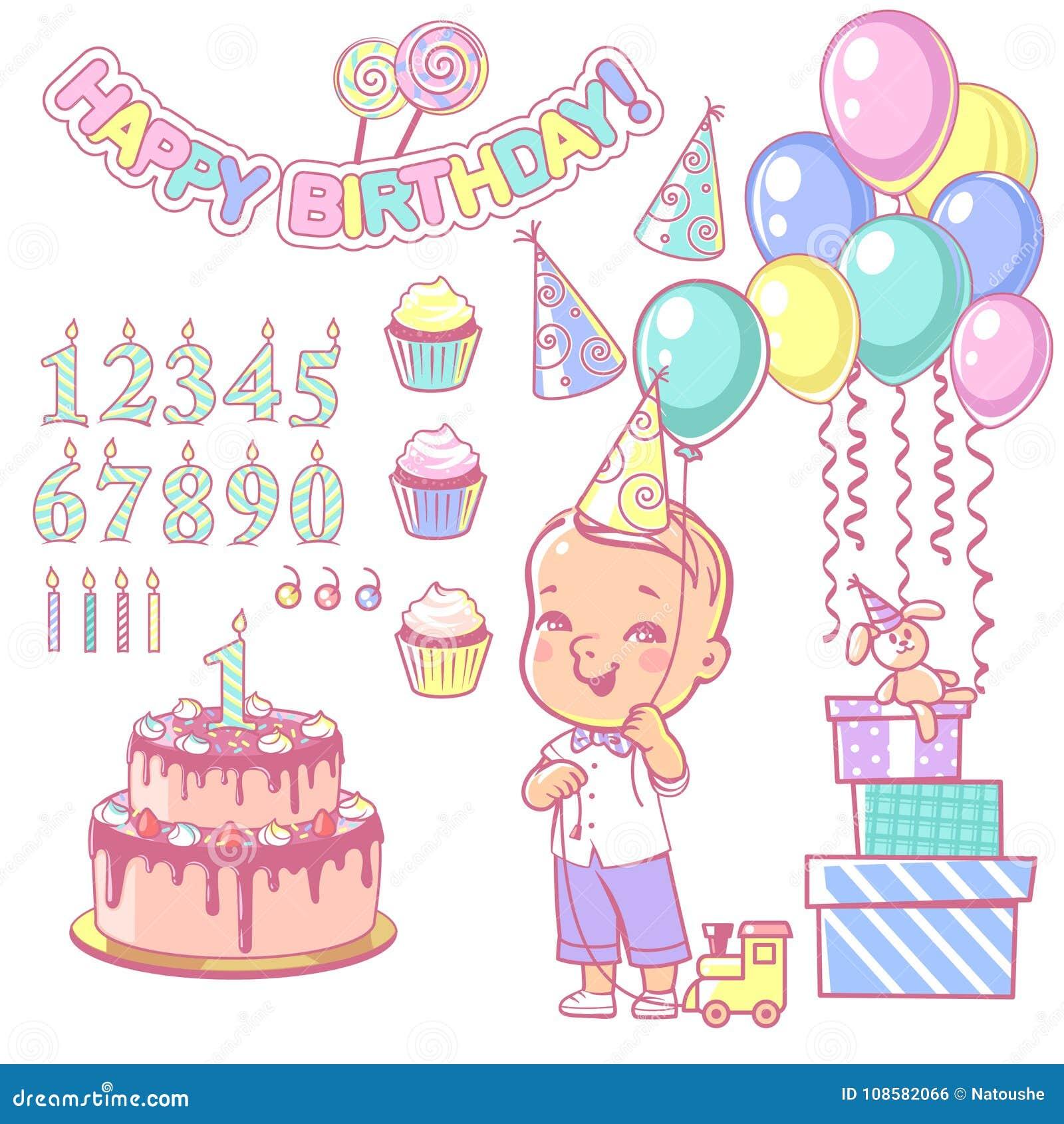 Birthday Cake Constructor Set And Happy Boy Holding Balloon Stock