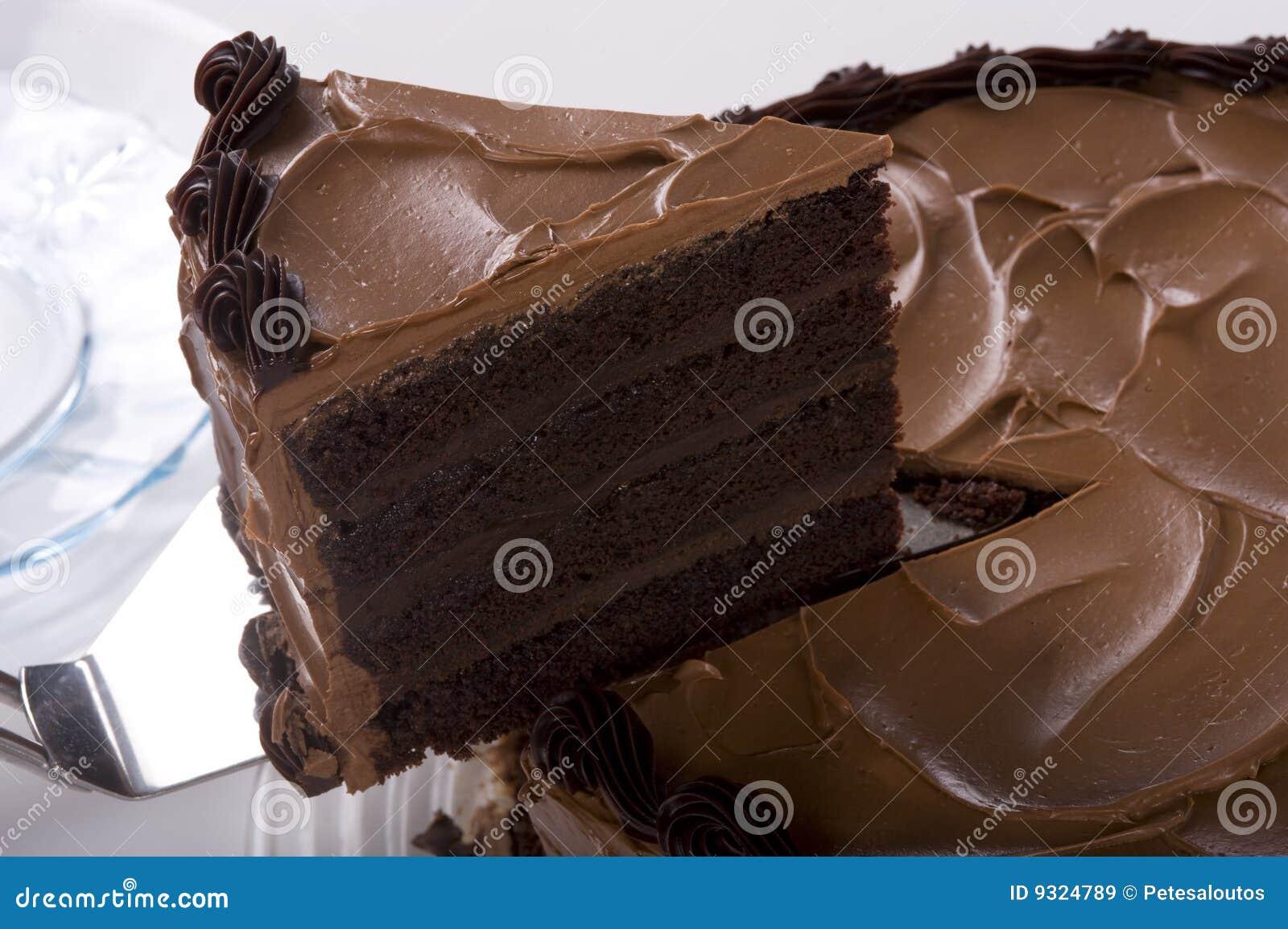 Cake die van de chocolade wordt de gesneden