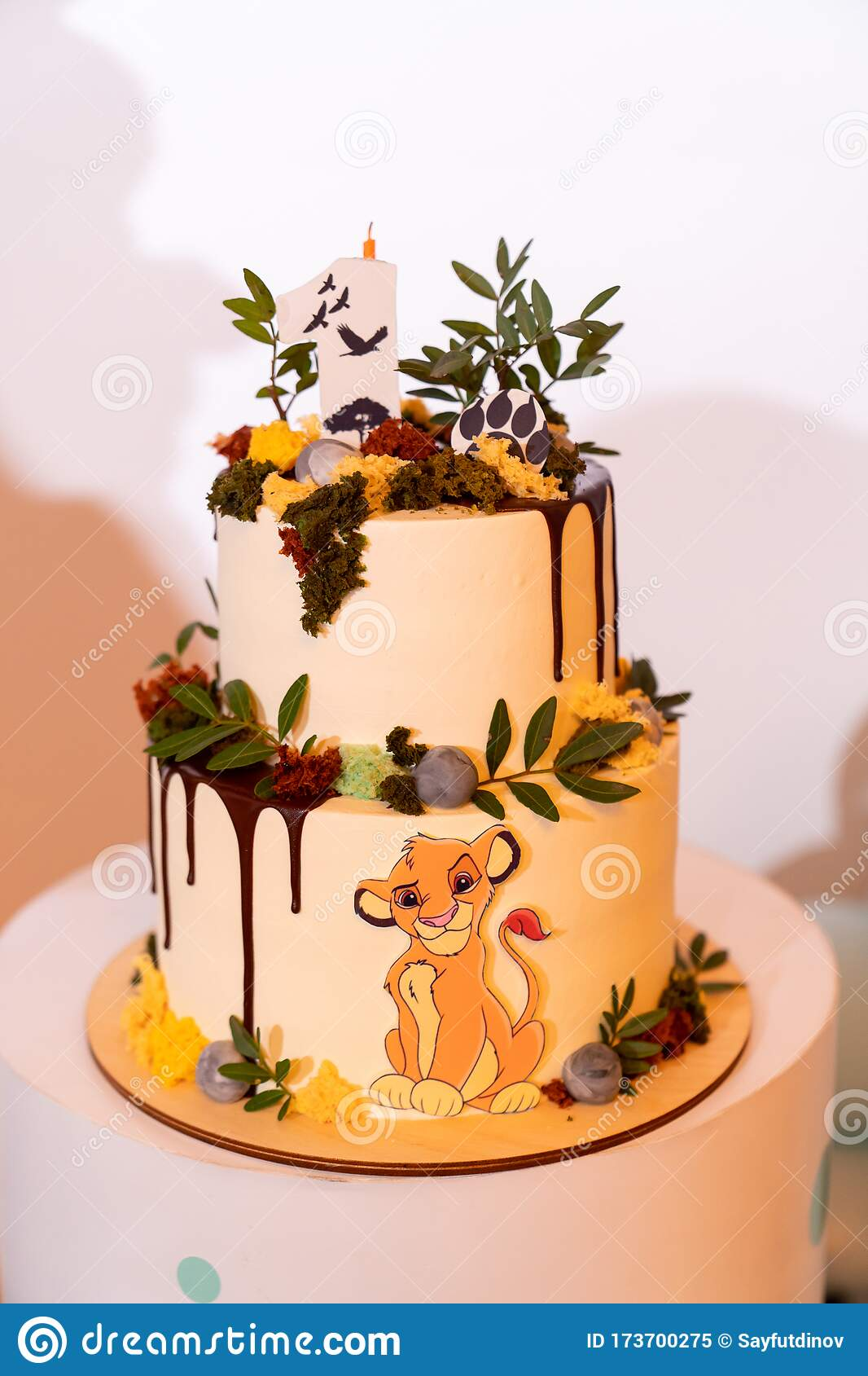 Pleasant Cake For The First Birthday With The Lion King Stock Image Image Funny Birthday Cards Online Fluifree Goldxyz