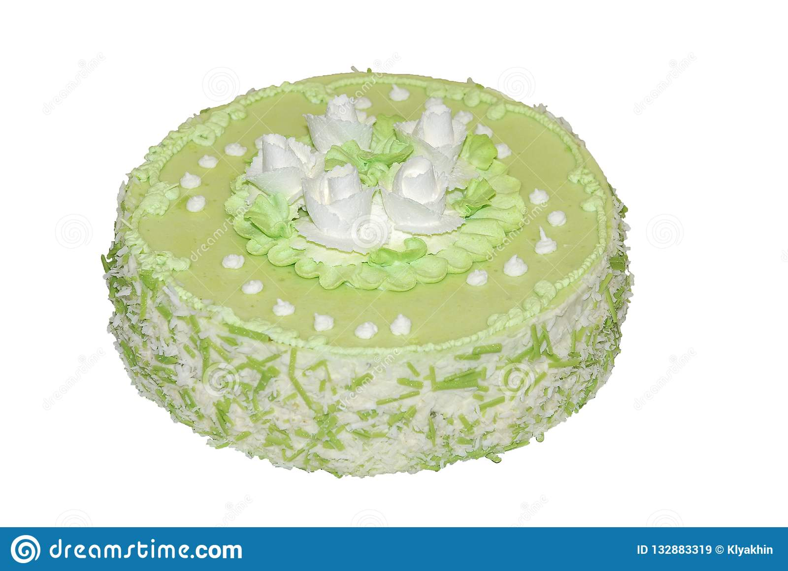 Cake Flavored Green Tea Decorated With White Flowers