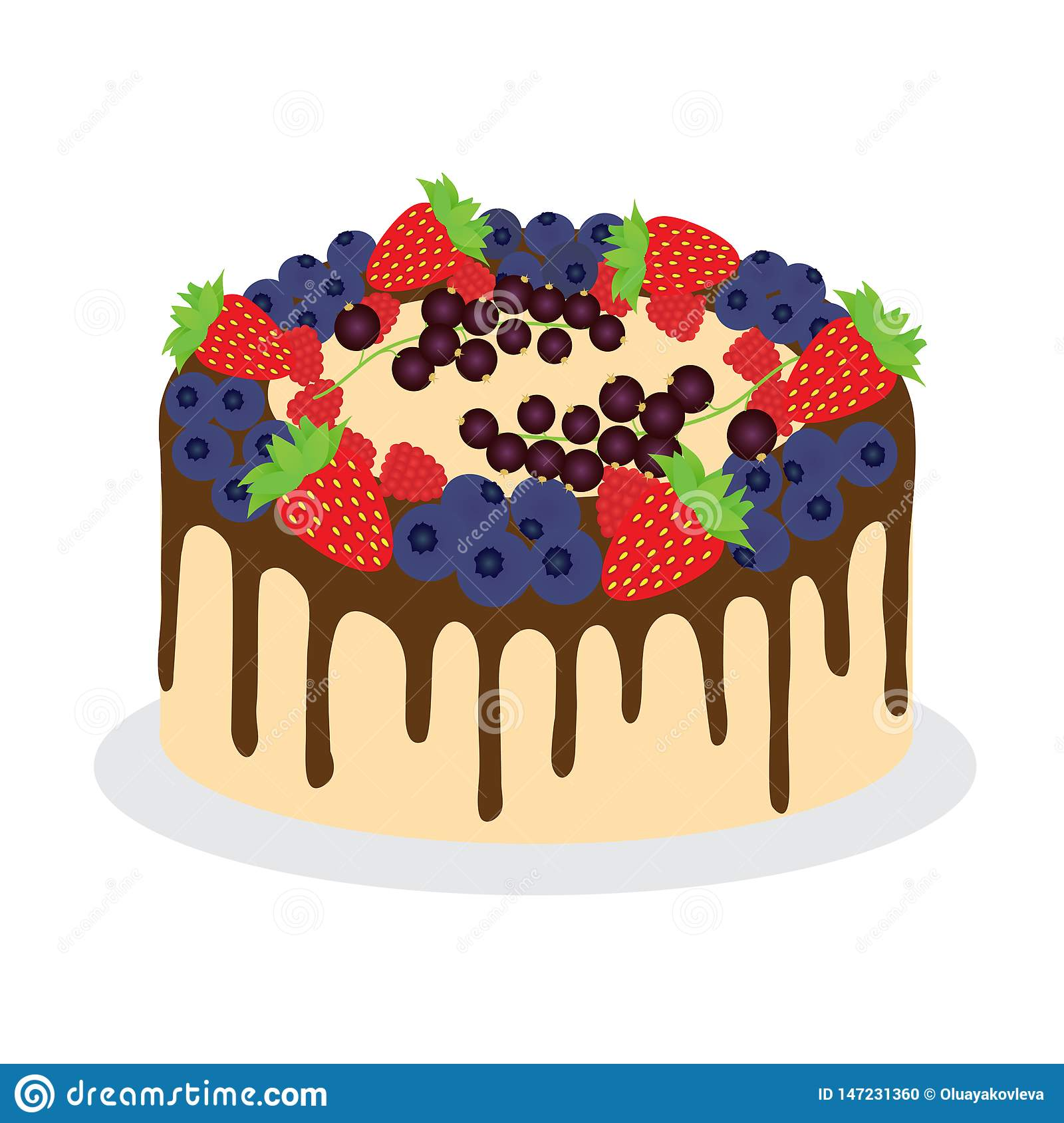 Cake with fresh diferent berries.