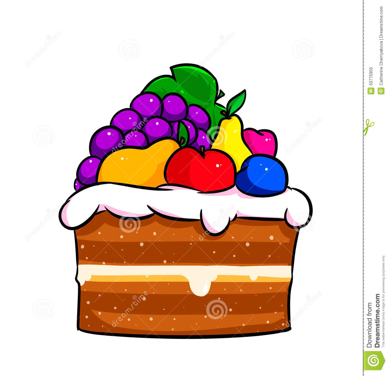 Cake Fruit Cartoon Stock Illustration Illustration Of
