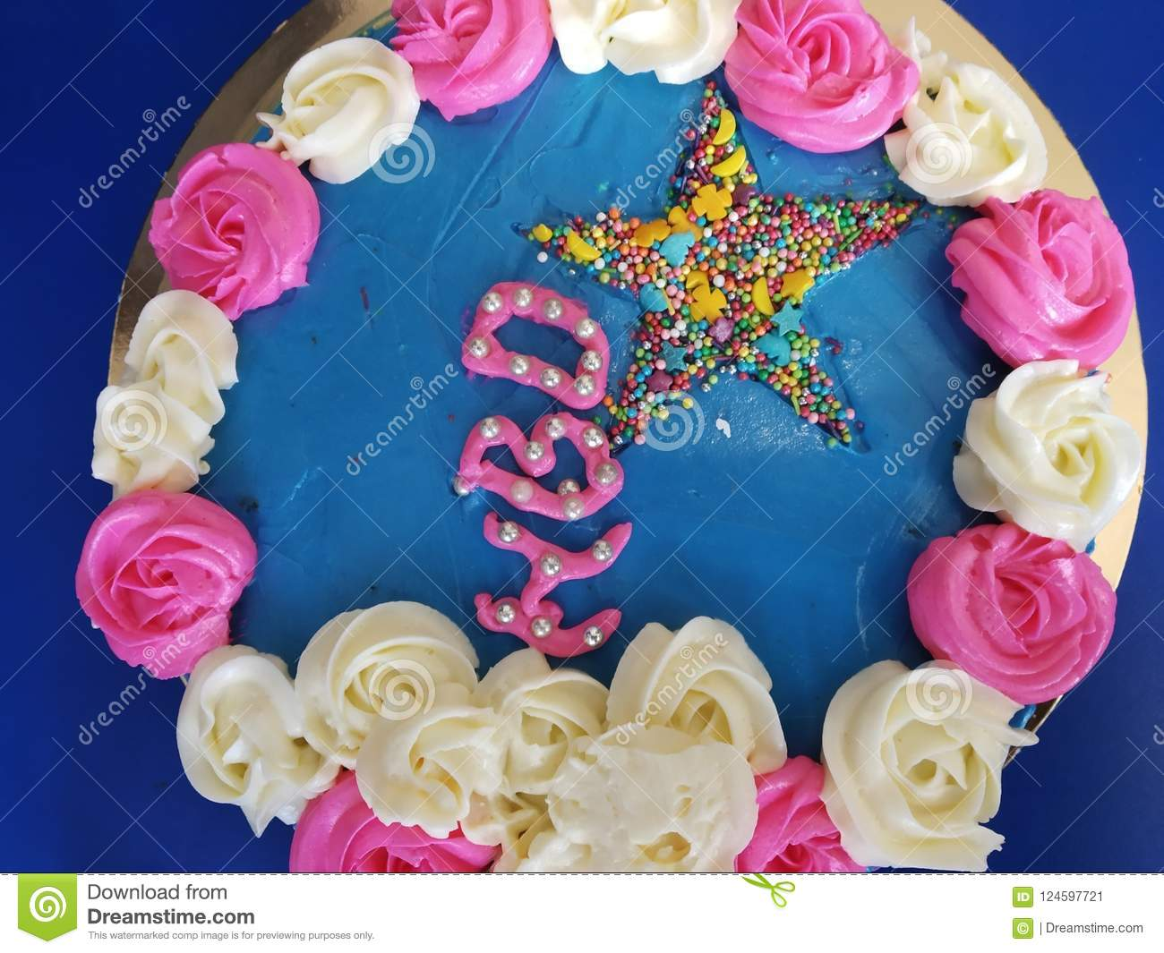 Cake Happy Birthday Stock Image Of Pink Blue