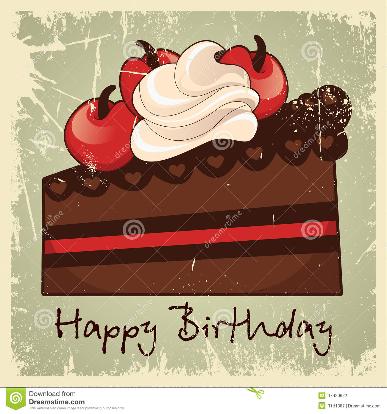 Cake Happy Birthday Vintage Stock Vector Illustration of event