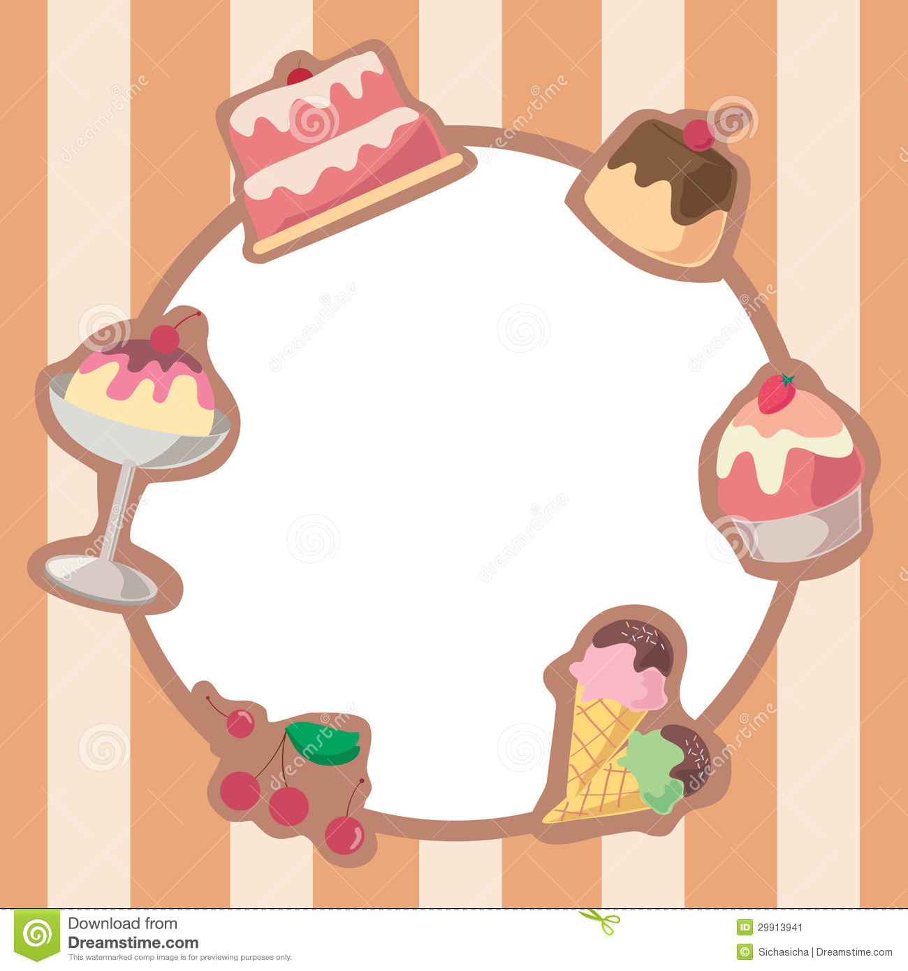Cake And Ice Cream Frame stock vector. Image of cartoon ...
