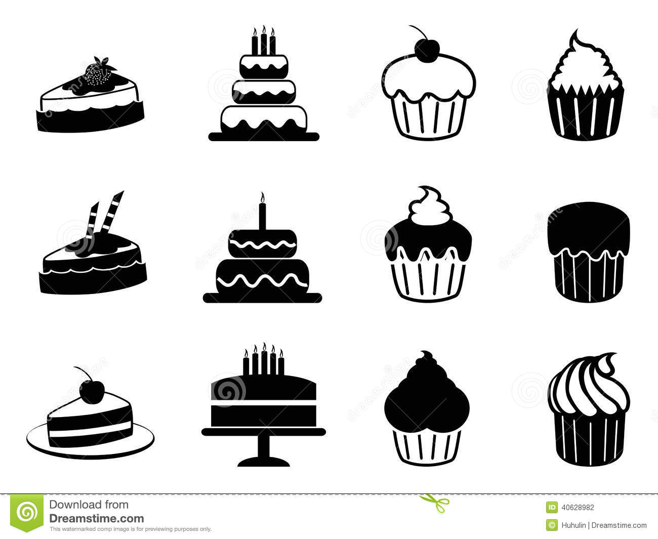 Cake Icons Set Stock Vector Image 40628982