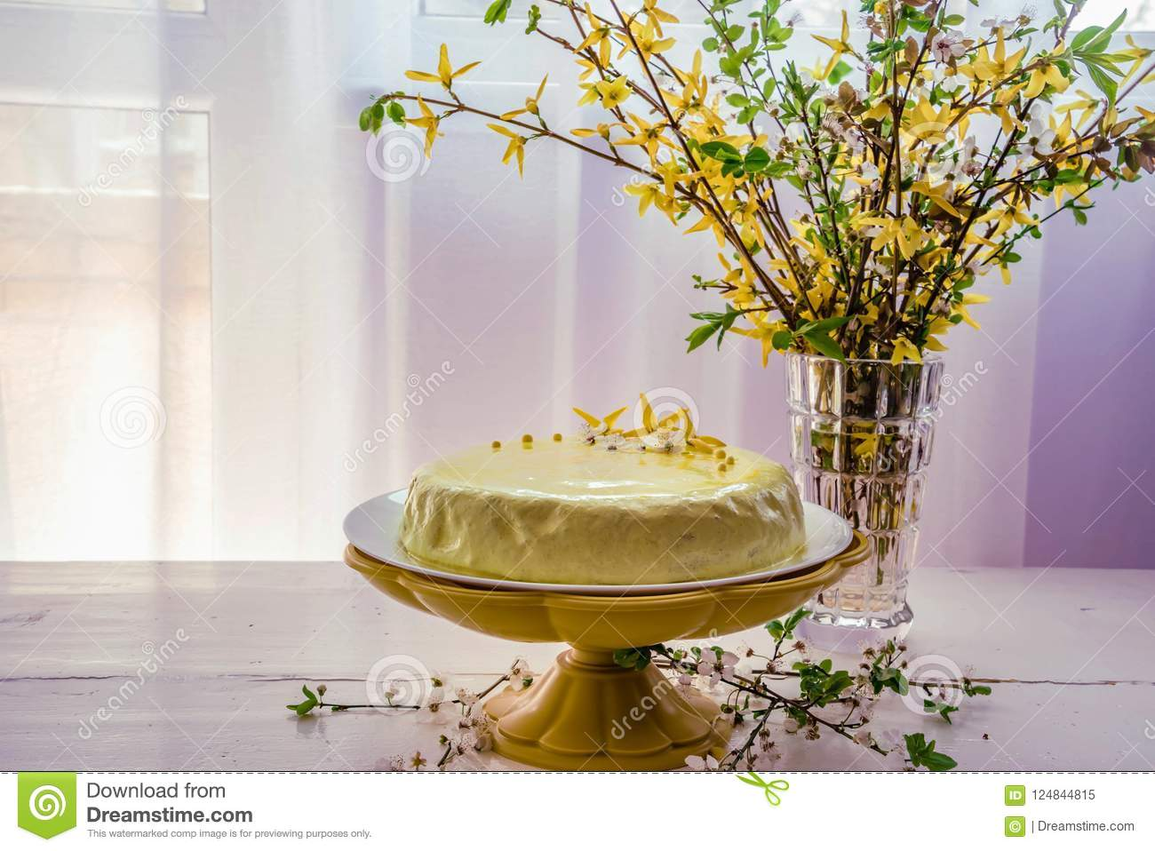 Excellent A Cake With Lemon And Coconut On A Yellow Tray And A Bouquet Of Funny Birthday Cards Online Alyptdamsfinfo