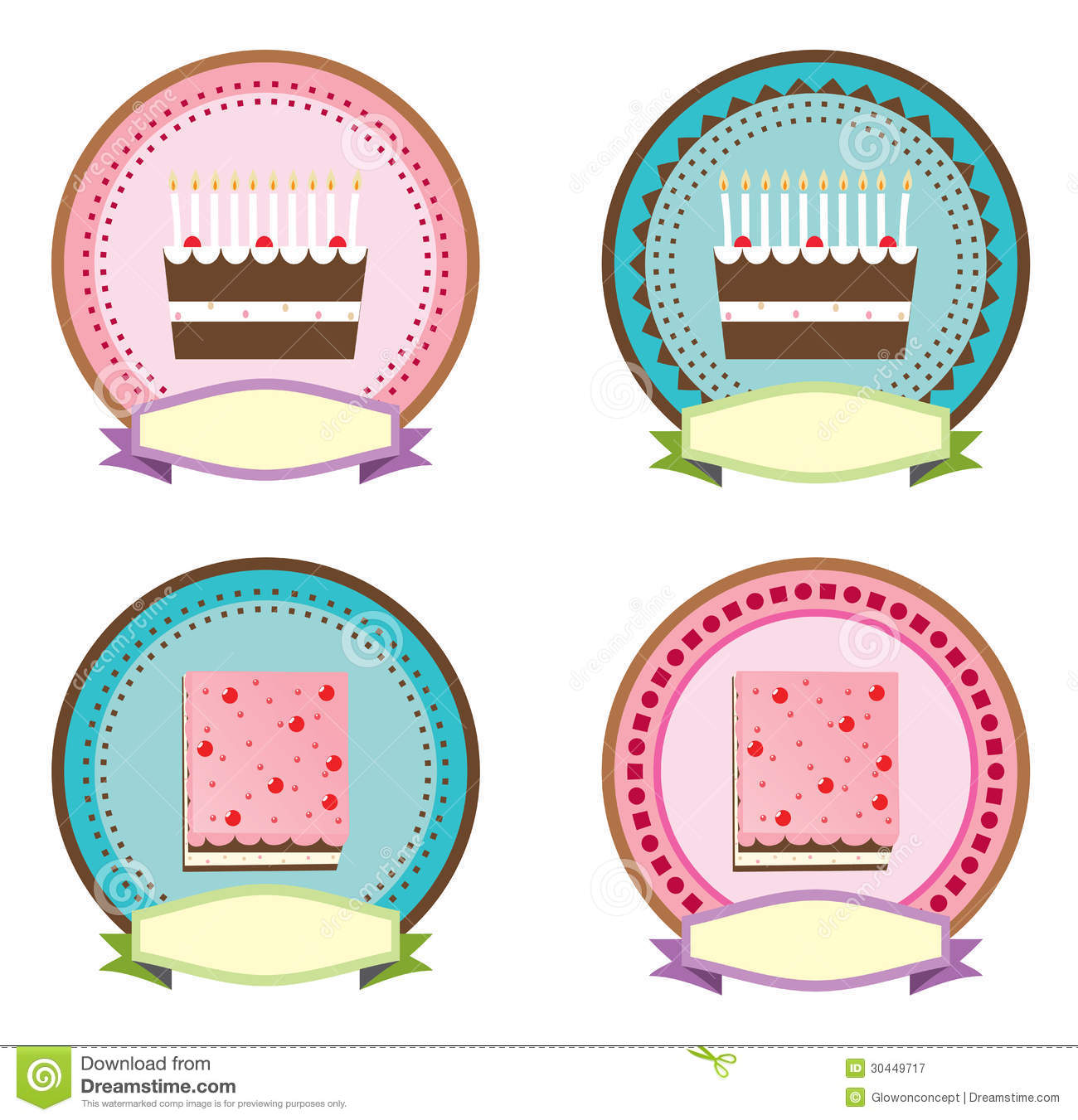 Design of icons logos for cake or birthday with illustrator.