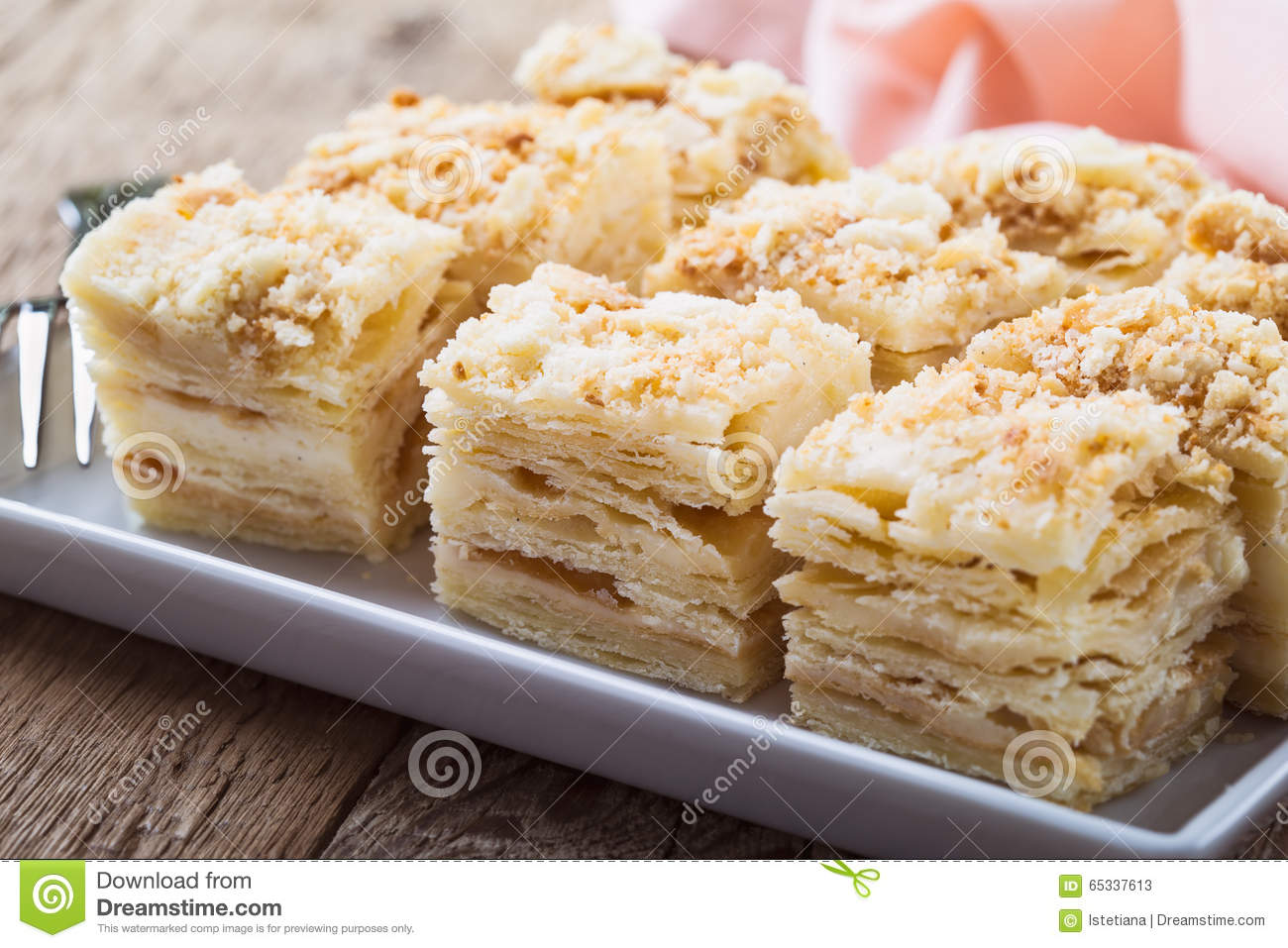 Cake Napoleon Puff Pastry Custard Cream Pie Stock Image