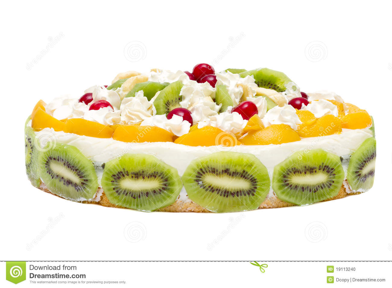 Cake With Peaches, Kiwi And Whipped Cream Stock Photo ...