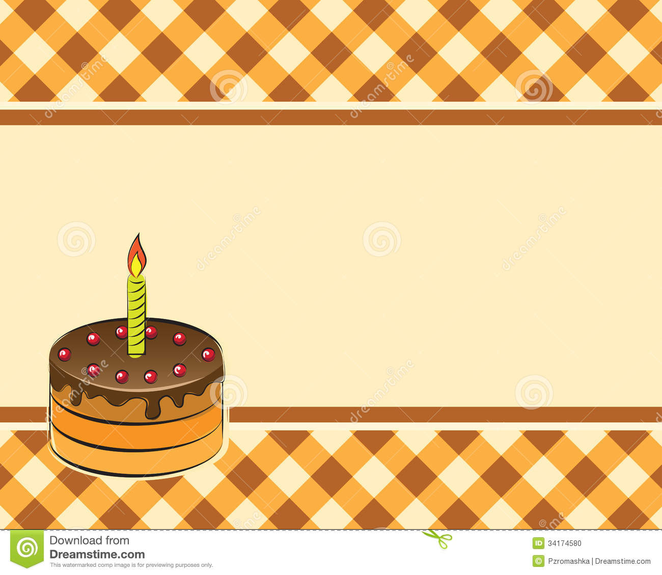 cake on a plaid background  vector illustration stock