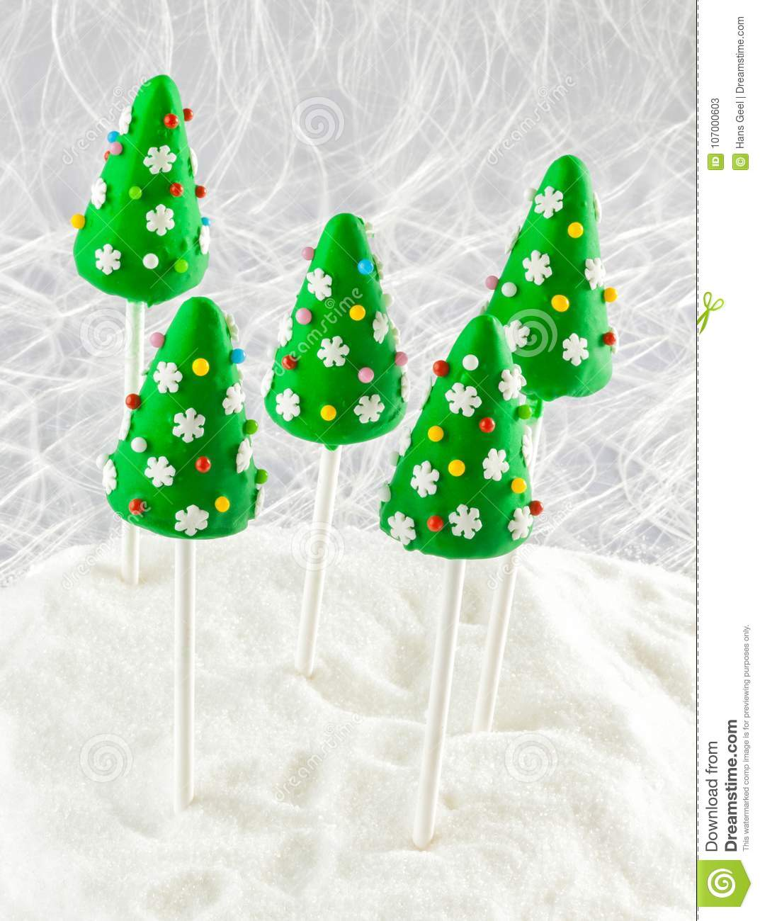 Christmas Cake Pops With Decorations Stock Image Image Of