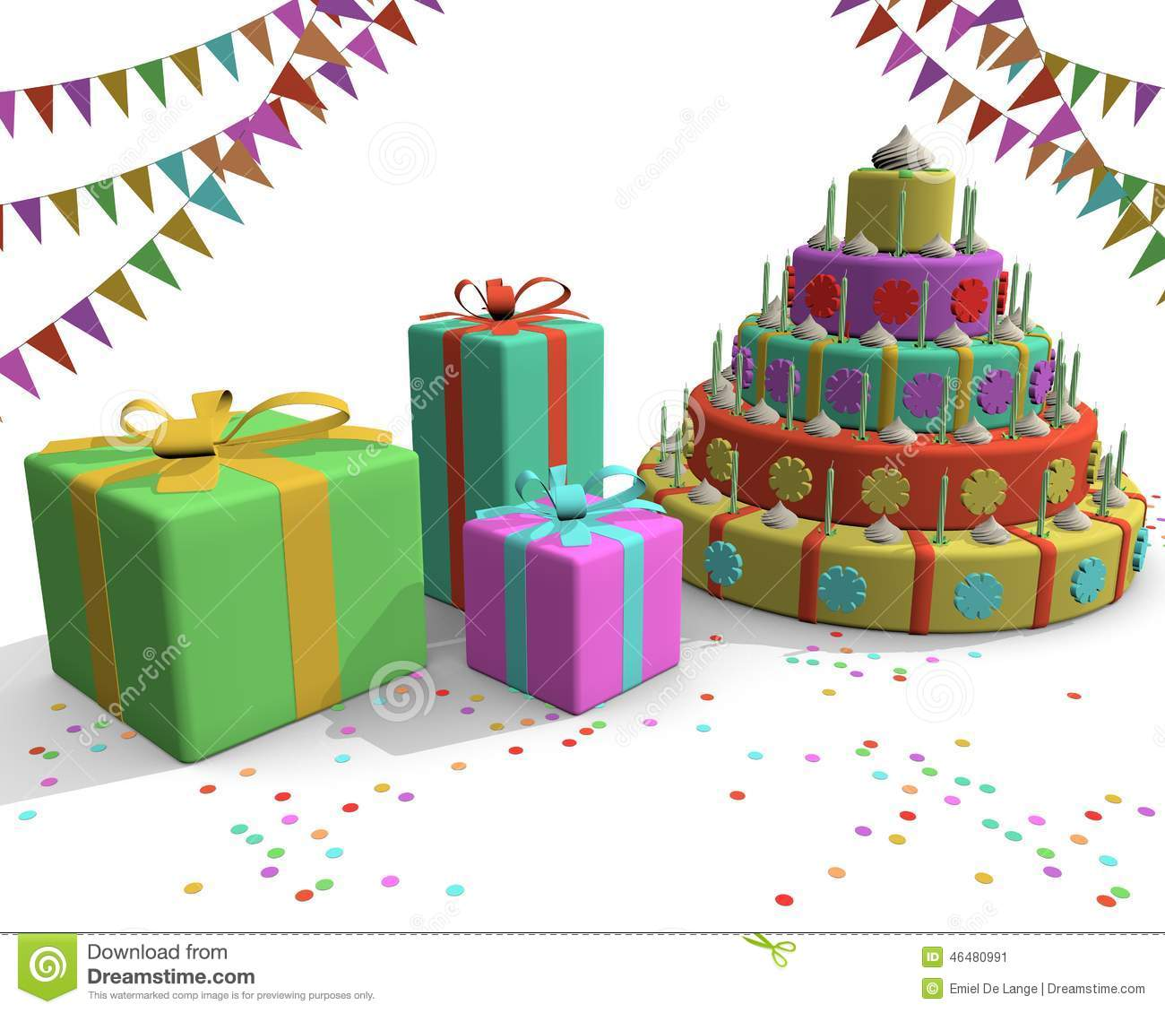 Groovy Cake Presents Flags And Confetti Stock Illustration Illustration Funny Birthday Cards Online Sheoxdamsfinfo
