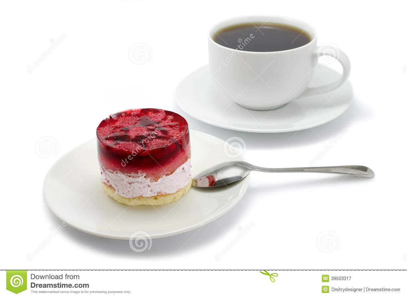 Cake with raspberries and a cup of tea