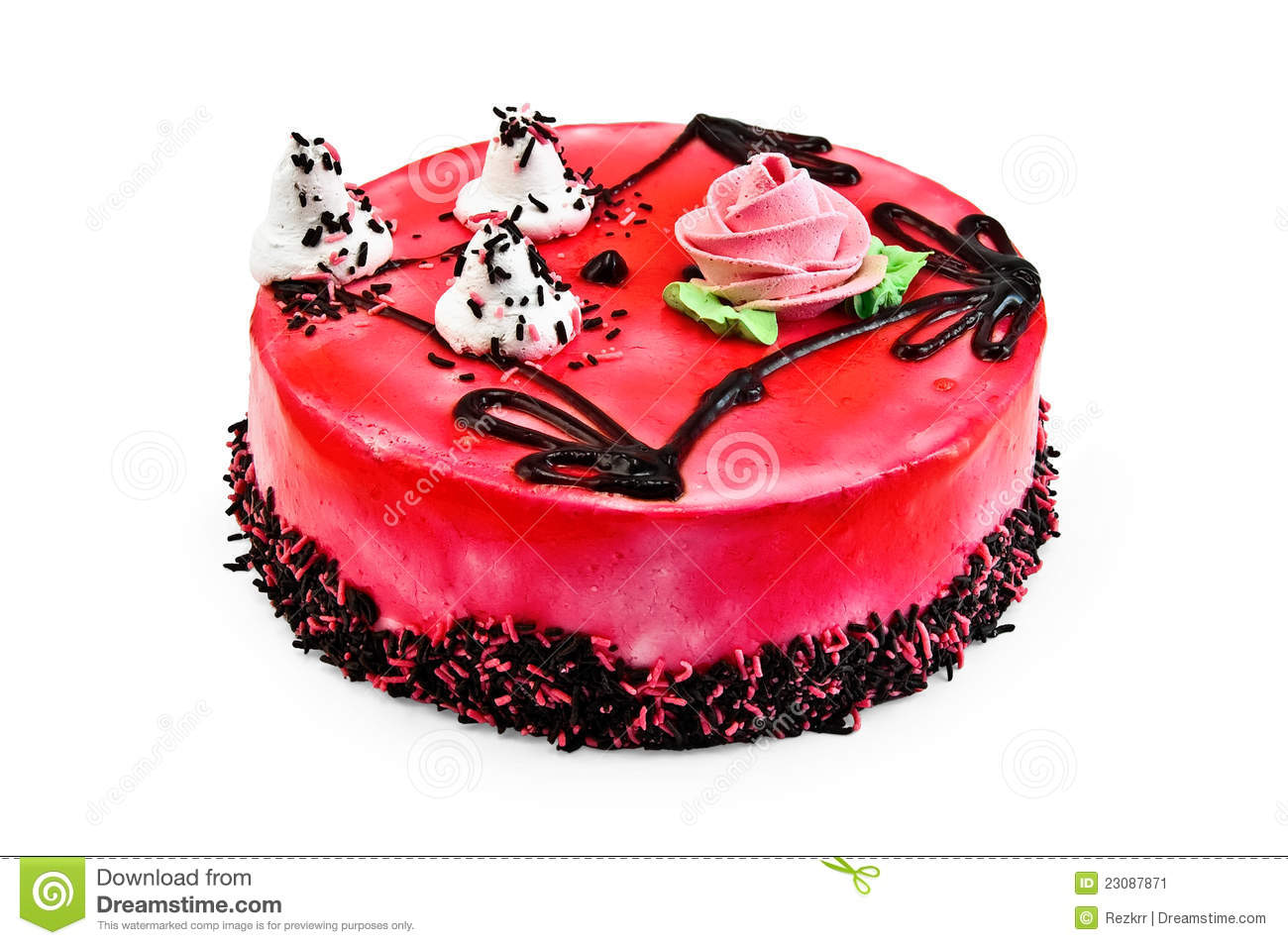 Red Jelly Cake Recipe: Cake With Red Jelly Stock Image