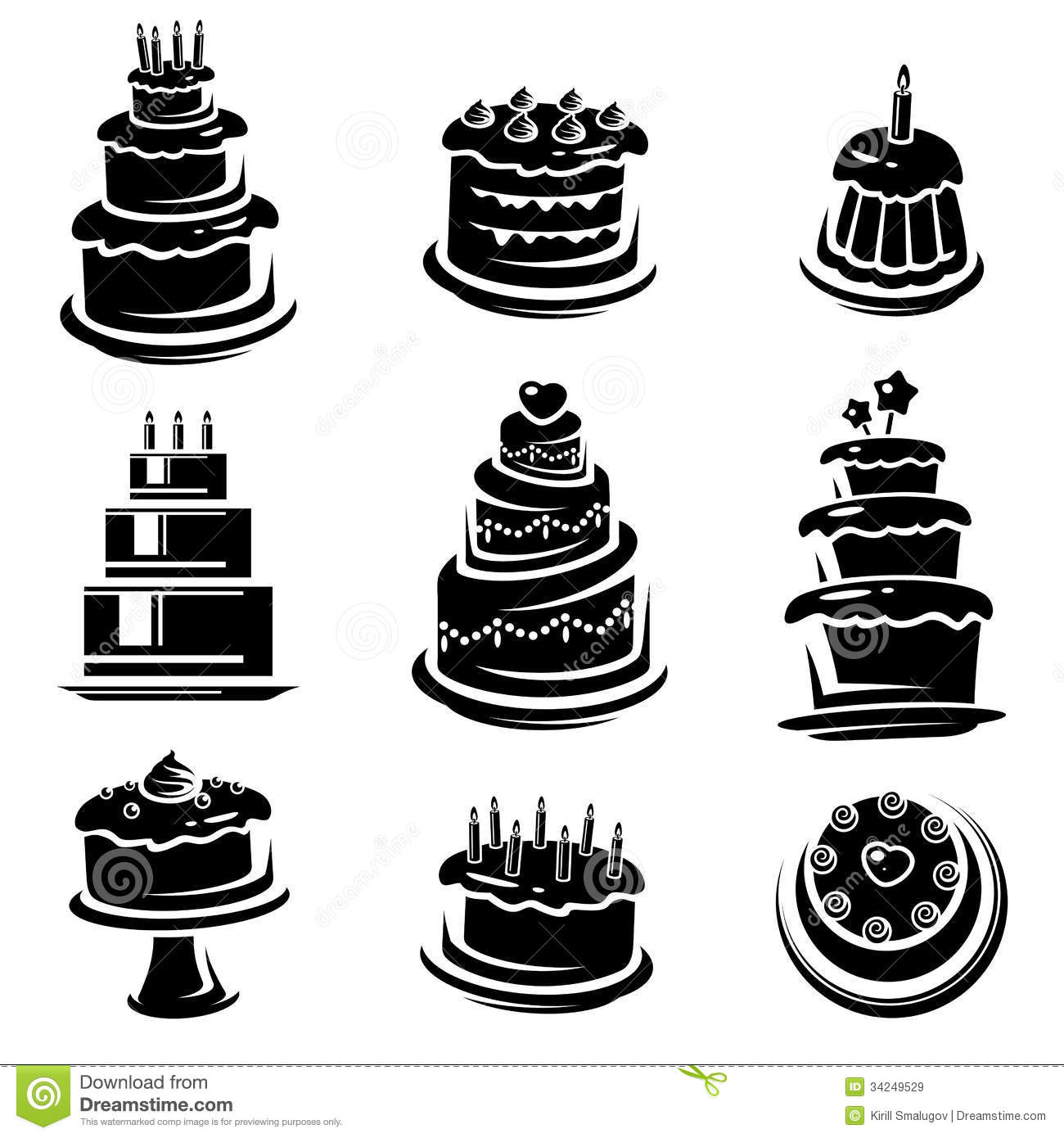 Cake Set Vector Stock Vector Illustration Of Drawing
