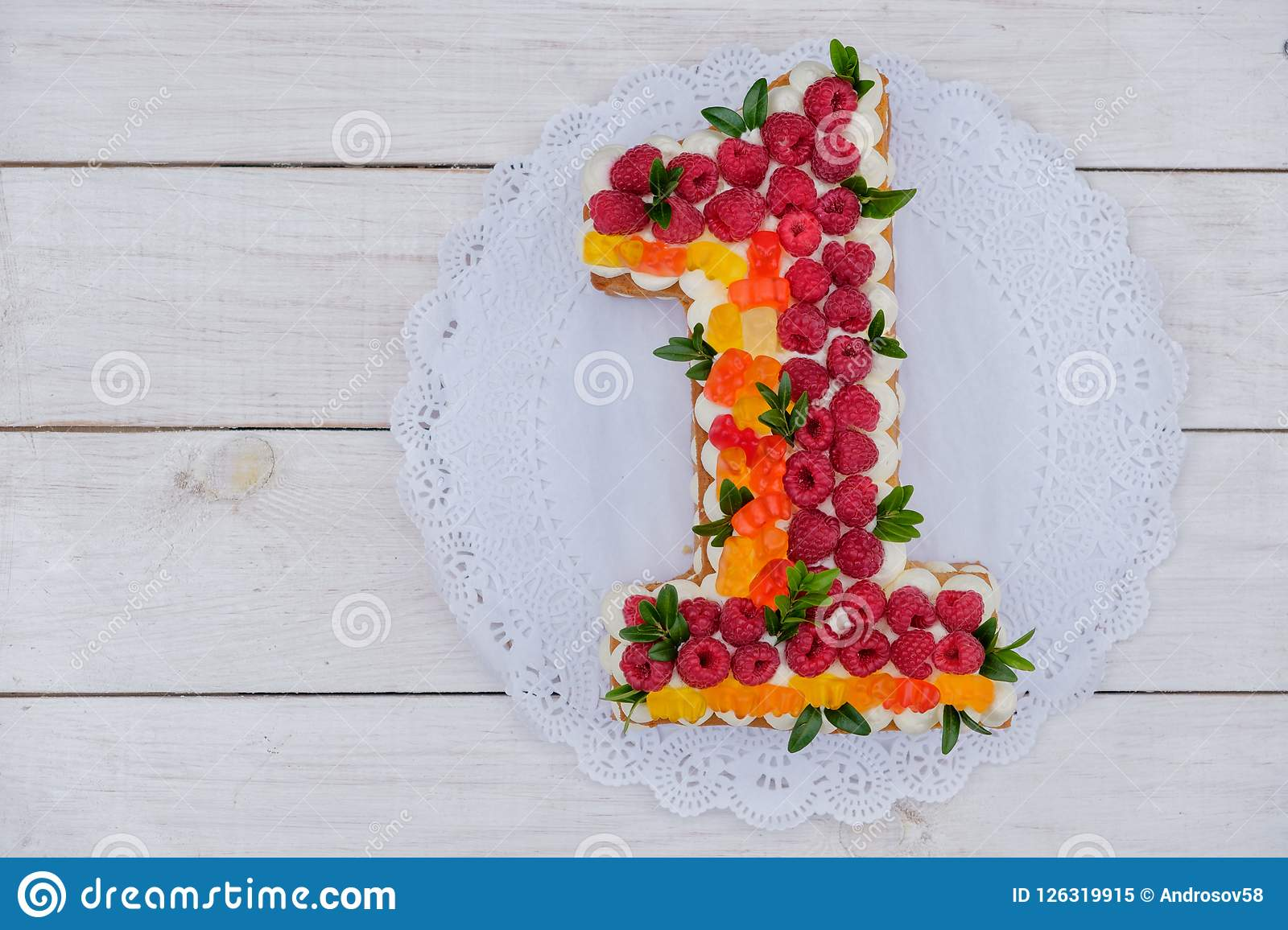 Cool Cake In Shape Of Number One On A White Background Stock Image Personalised Birthday Cards Paralily Jamesorg