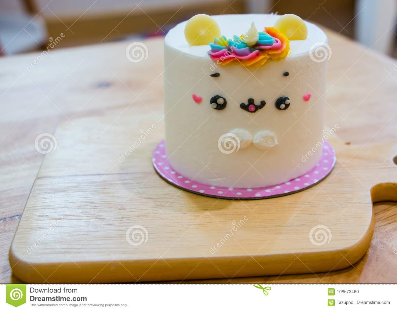 Admirable Cake In The Shape Of A Unicorn On Wooden Table Stock Photo Funny Birthday Cards Online Elaedamsfinfo