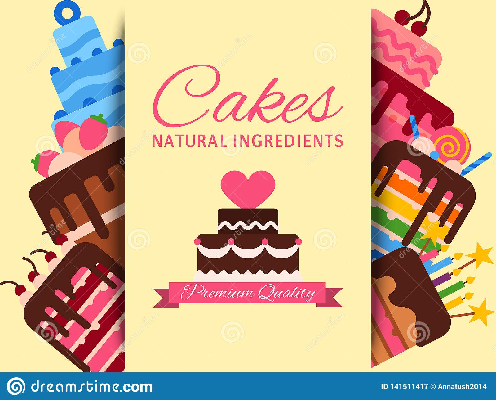 Sensational Cake Shop Banner Vector Illustration Cakes Natural Ingredients Funny Birthday Cards Online Necthendildamsfinfo
