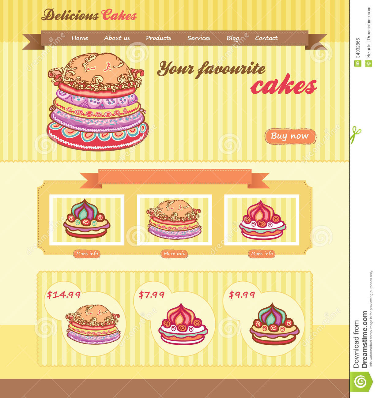 Cake Designs Website : Cake Shop Template Royalty Free Stock Image - Image: 34032866