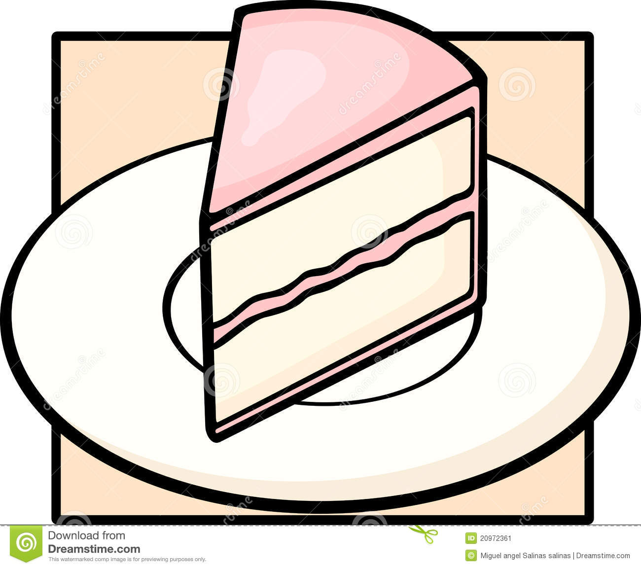 Cake Slice In Dish Ilration Of A Stock Image