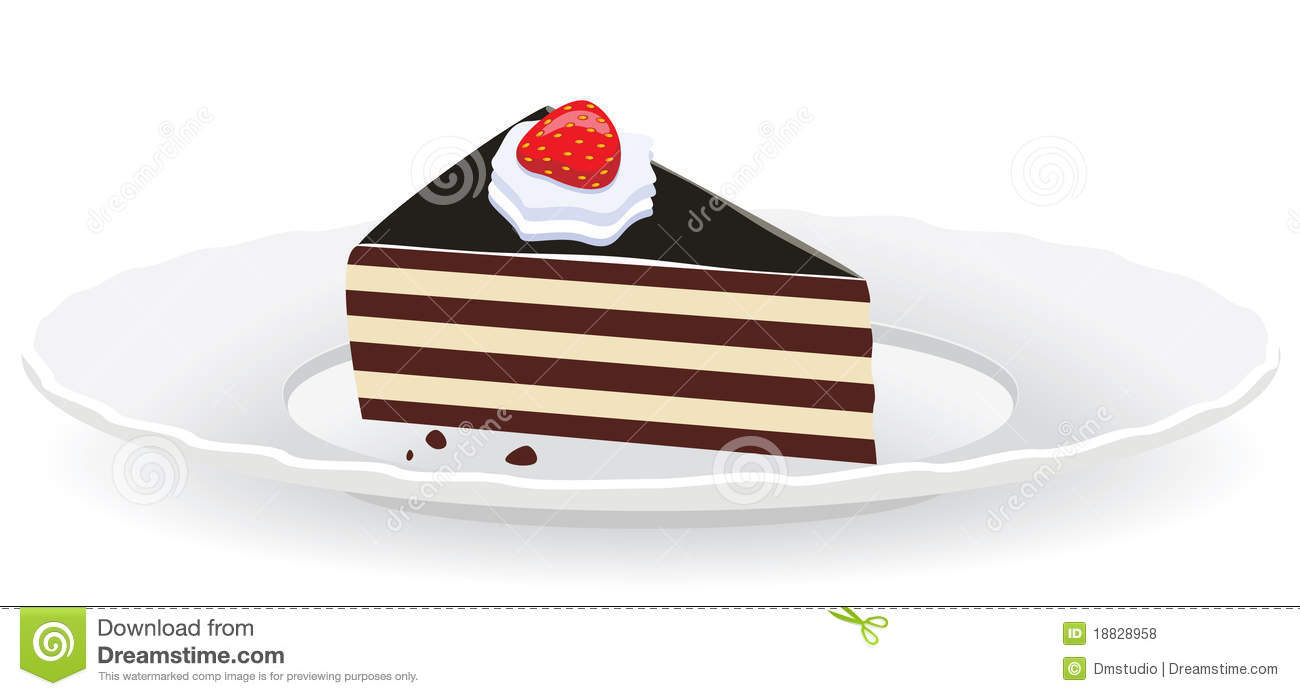 Clipart Slice Of Cake On A Plate : Cake Slice On A Plate Royalty Free Stock Photos - Image ...