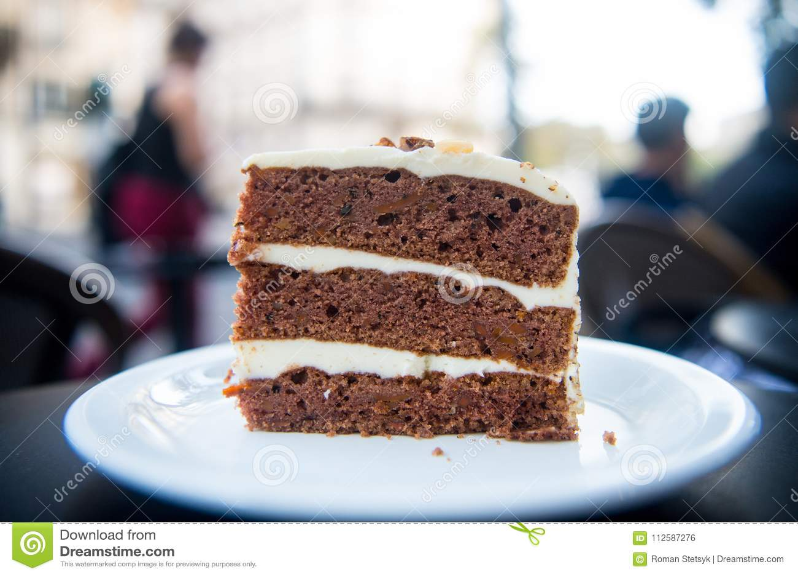 Cake slice on white plate in paris, france, dessert. Cake with cream, food. Temptation, appetite concept. Dessert, food, snack, pa