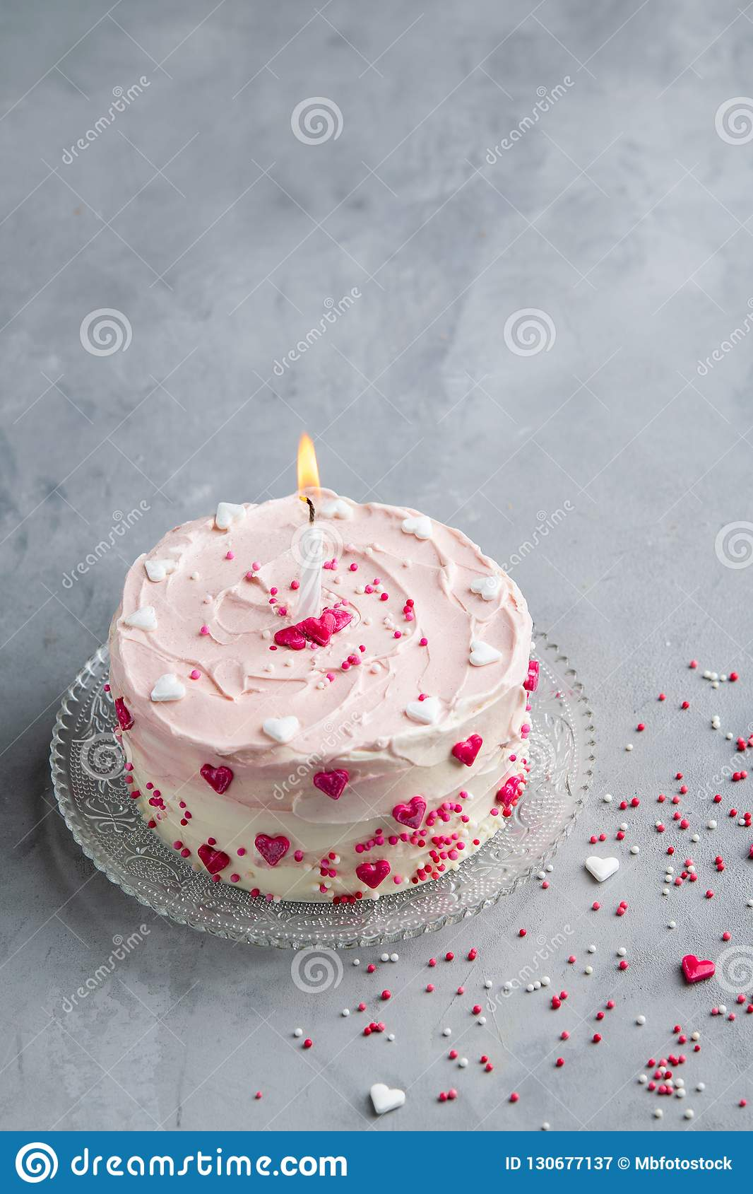 Sensational Cake With Small Hearts And Colorful Sprinkles On Gray Background Funny Birthday Cards Online Elaedamsfinfo