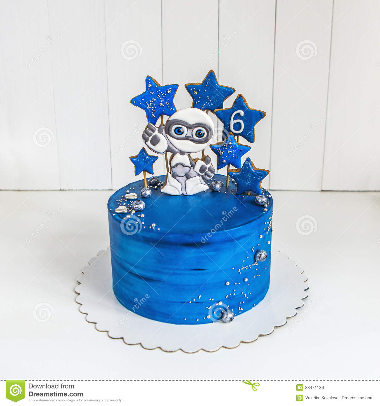 Prime Cake Space Blue With Gingerbread In The Form Of An Alien And The Funny Birthday Cards Online Elaedamsfinfo