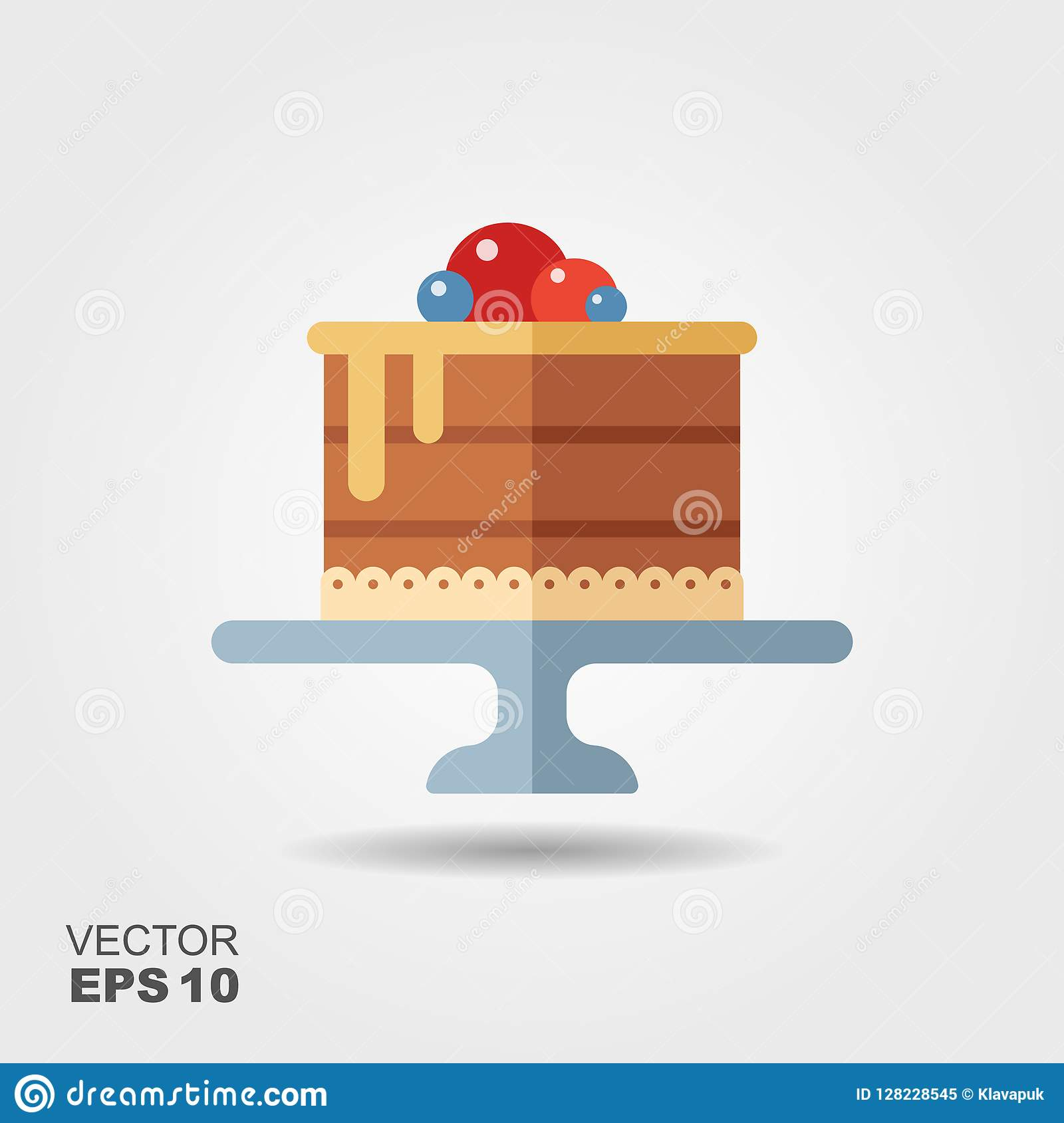 Cake on the stand flat icon with shadow