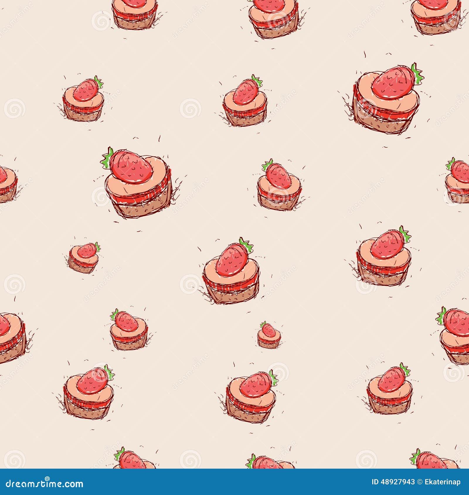 Cake Design Program Free Download : Cake With Strawberries Hand Drawn Sketch On Pink ...