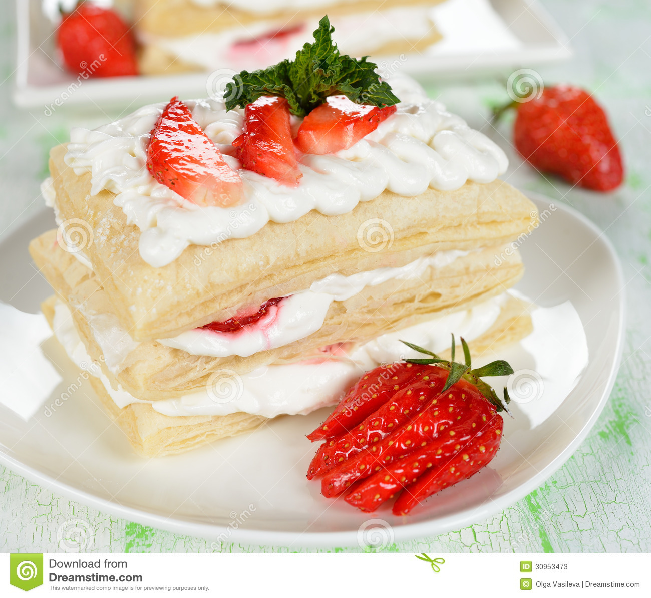 white cake with strawberries cake with strawberries stock image image of plate green 1308