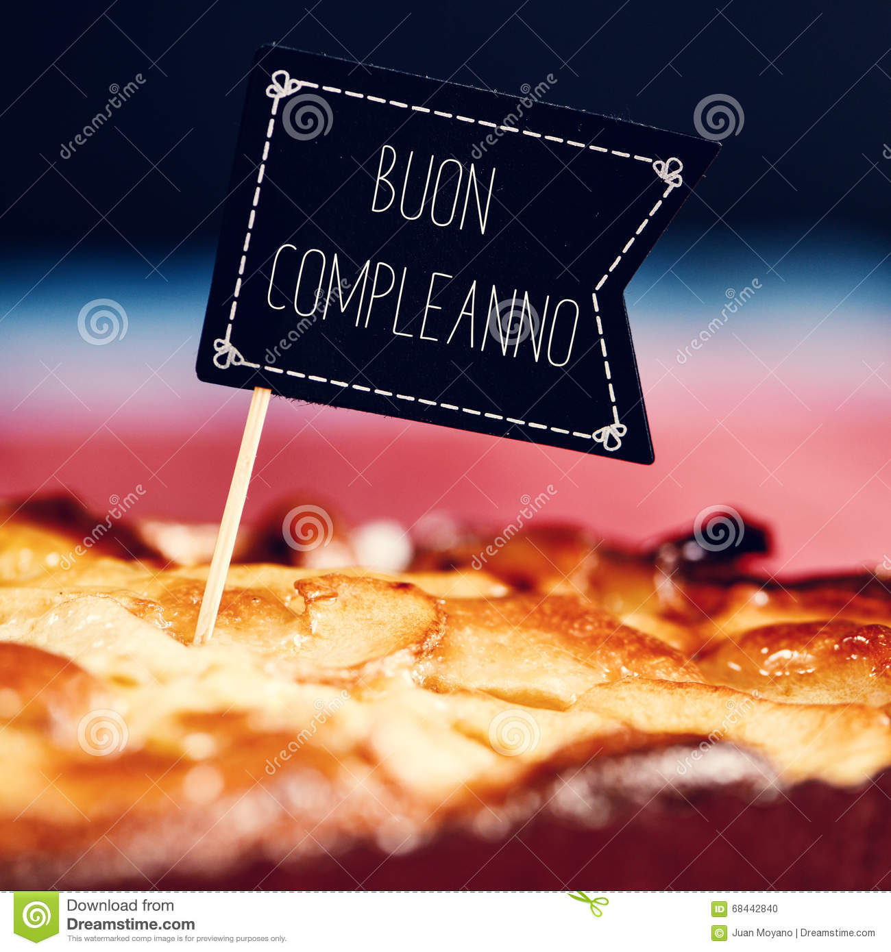 Cake With Text Buon Compleanno, Happy Birthday In Italian