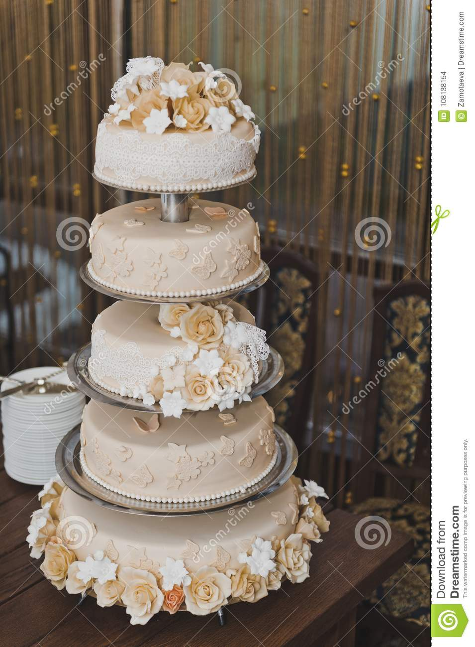 Cake In The 4th Floor On The Table Stock Photo Image Of Wedding