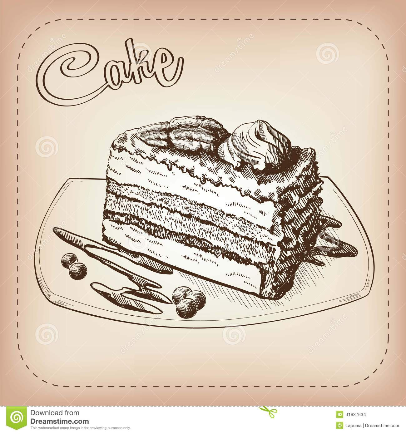 Cake Vector Hand Drawn Stock Vector Image 41937634