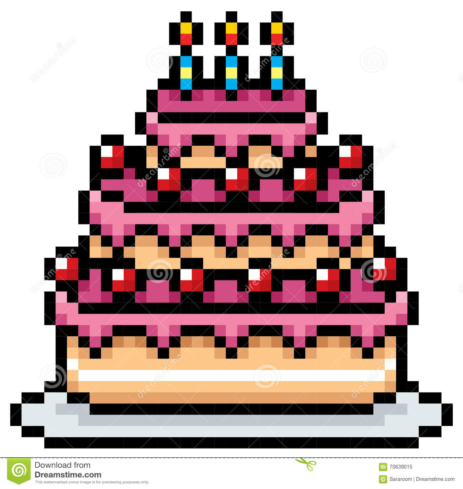 Cake Stock Vector Illustration Of Pixel Birthday