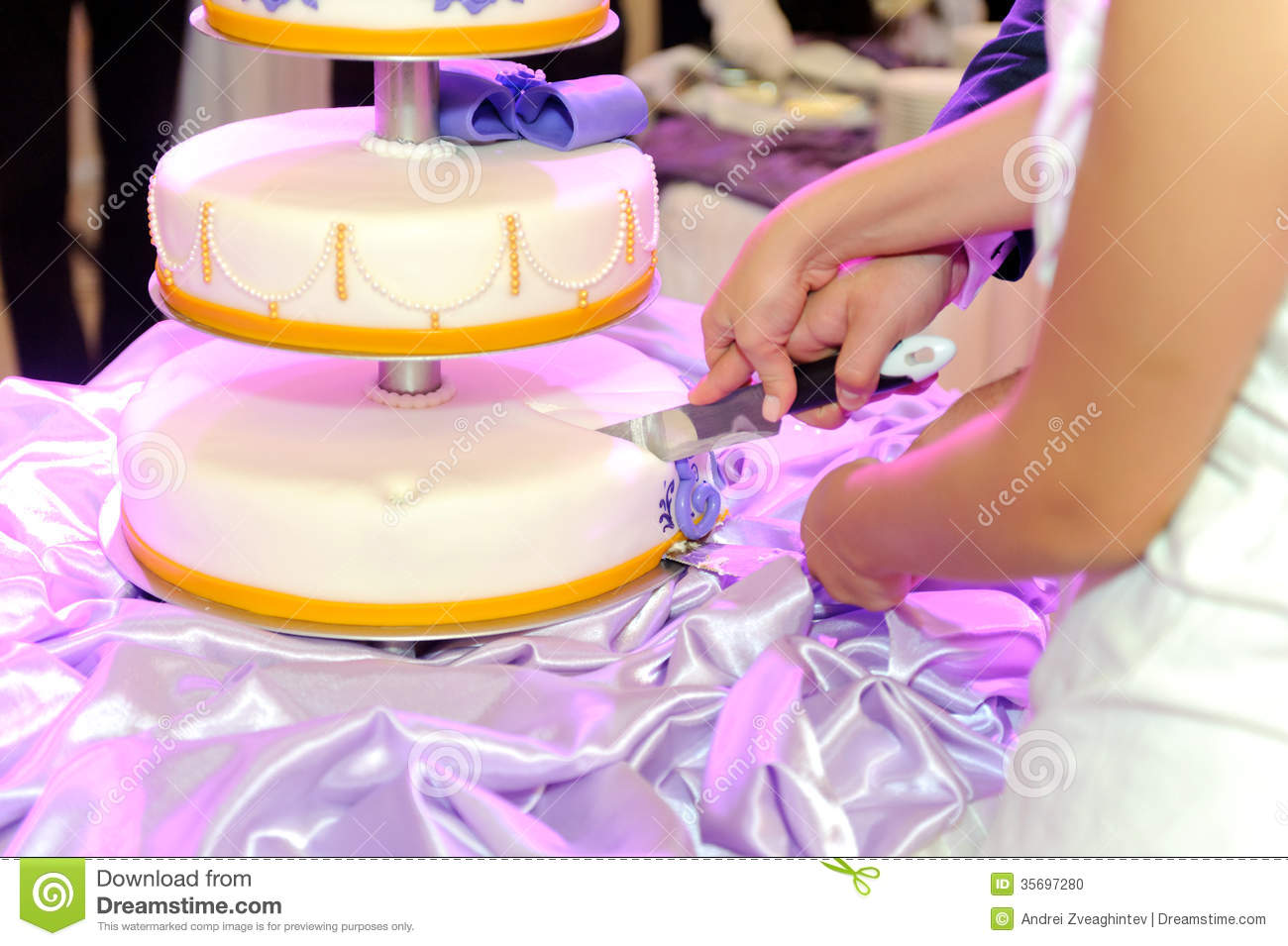 Cake on Violet Tablecloth stock photo. Image of food - 35697280