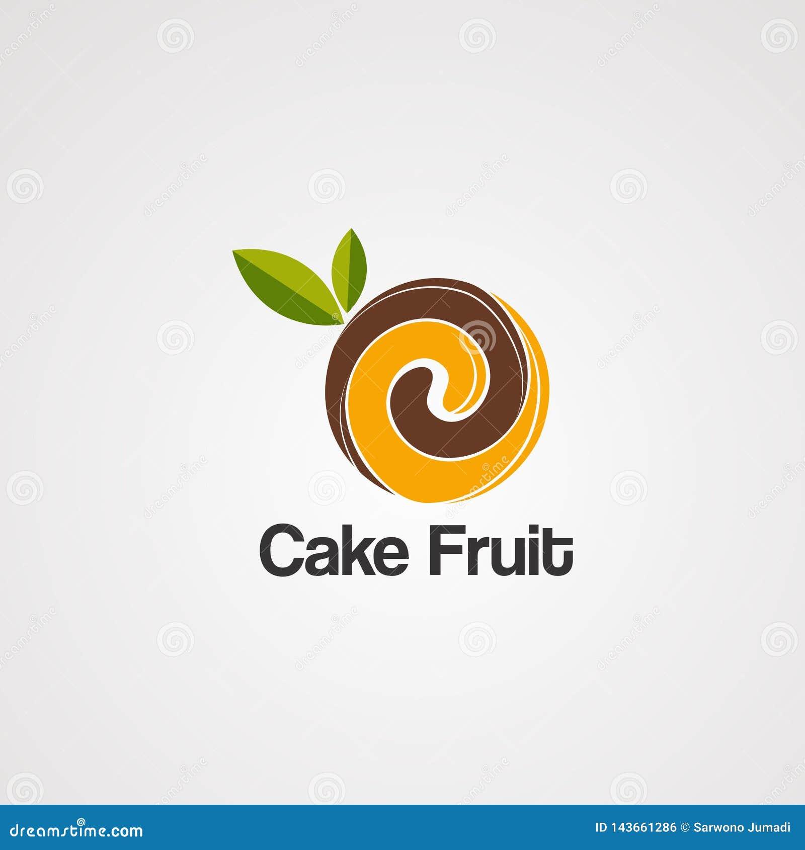 Cakefruit op bruine embleemvector, pictogram, element, en malplaatje voor bedrijf