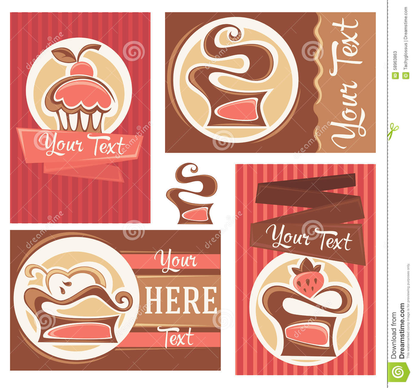 Cakes business cards stock vector. Illustration of decoration - 58963863