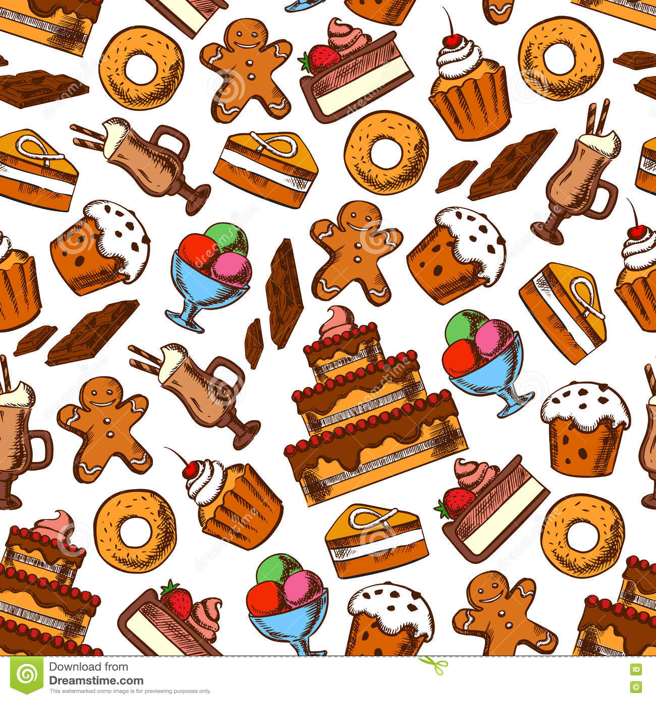 Cakes, Coffee And Ice Cream Seamless Pattern Stock Vector - Image ...