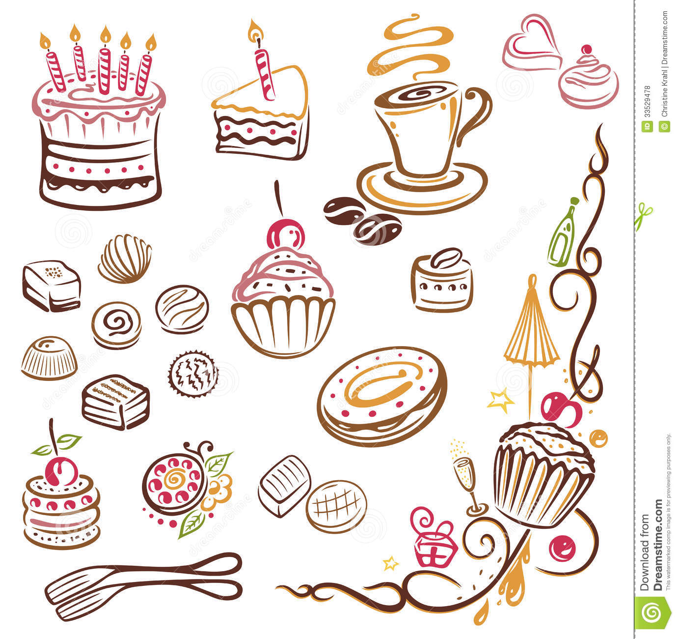 Clipart Cake Vector Free Download : Cakes, coffee, pralines stock vector. Image of celebration ...