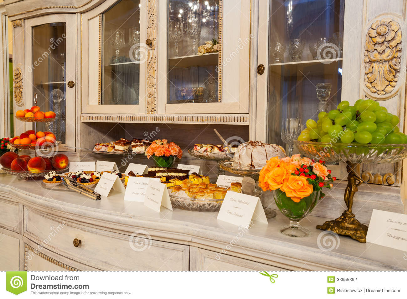 Cakes on a commode stock photography image 33955392 - Commode buffet design ...