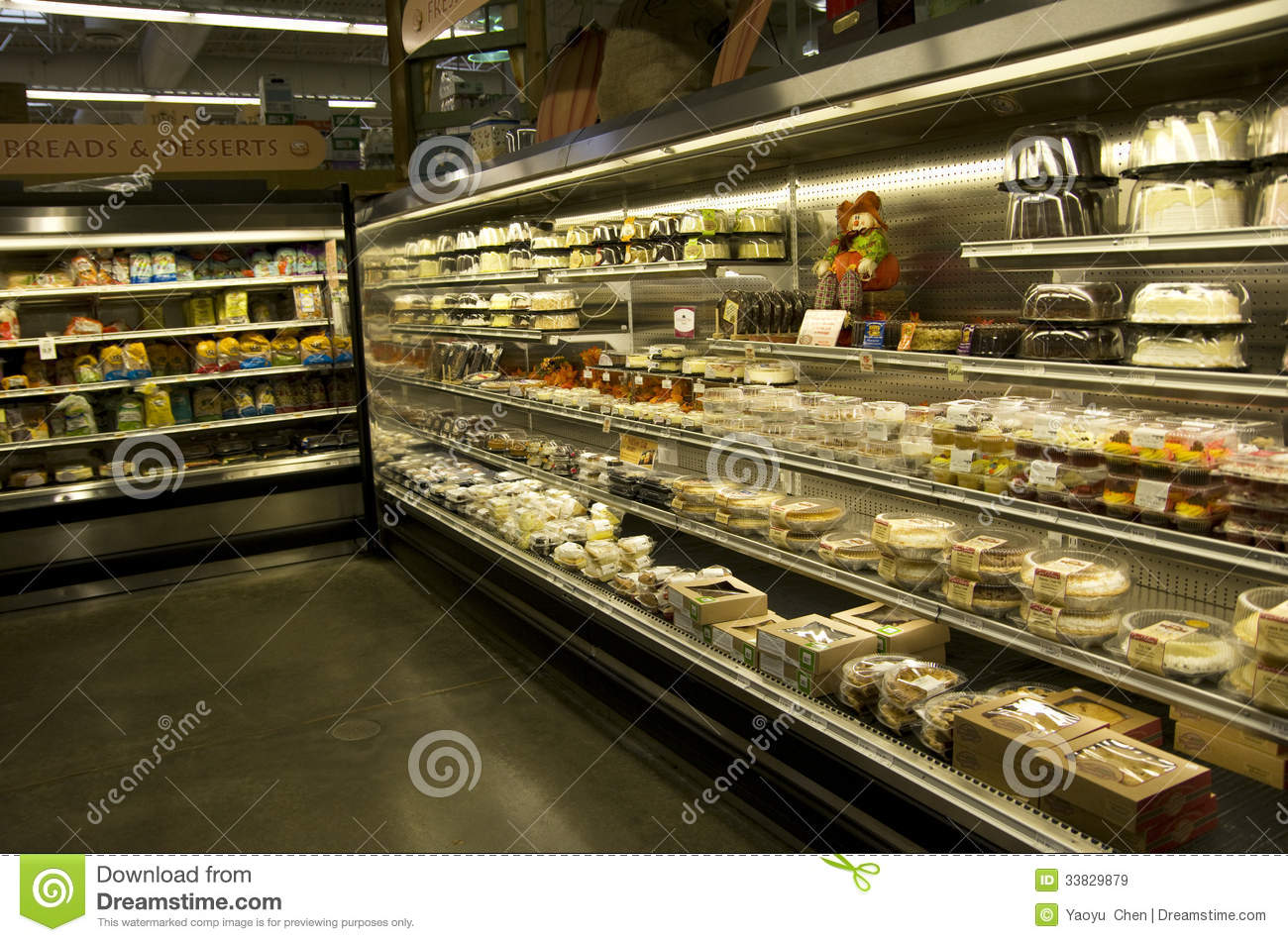 Cakes Desserts In Supermarket Editorial Stock Image